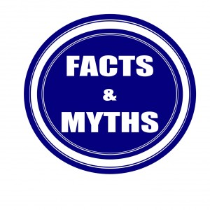 Facts and Myths white stamp text on blueblack