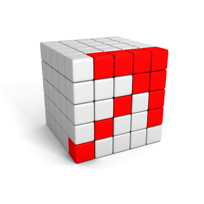 rising up red block structure arrow. 3d render illustration